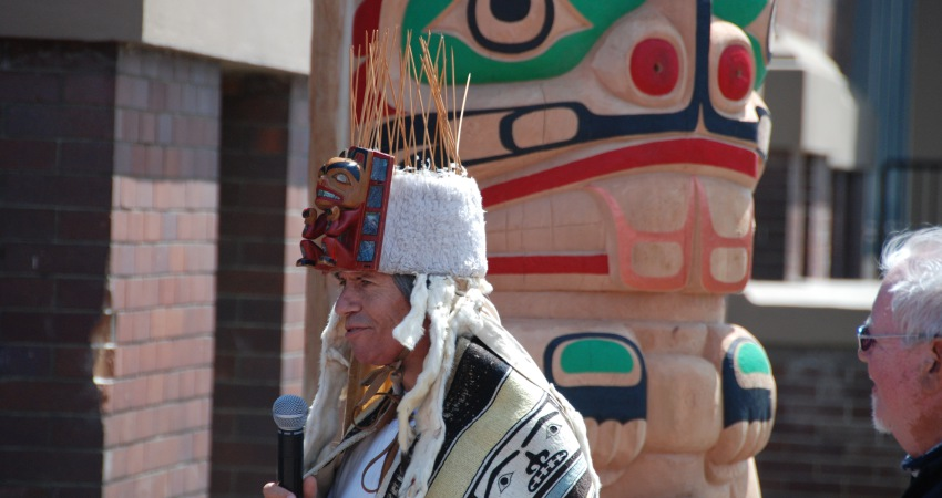Tony Hunt Jr. at the totem unveiling ceremony.