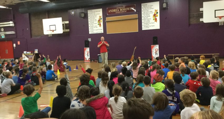 Micheal Mitchell entertains students