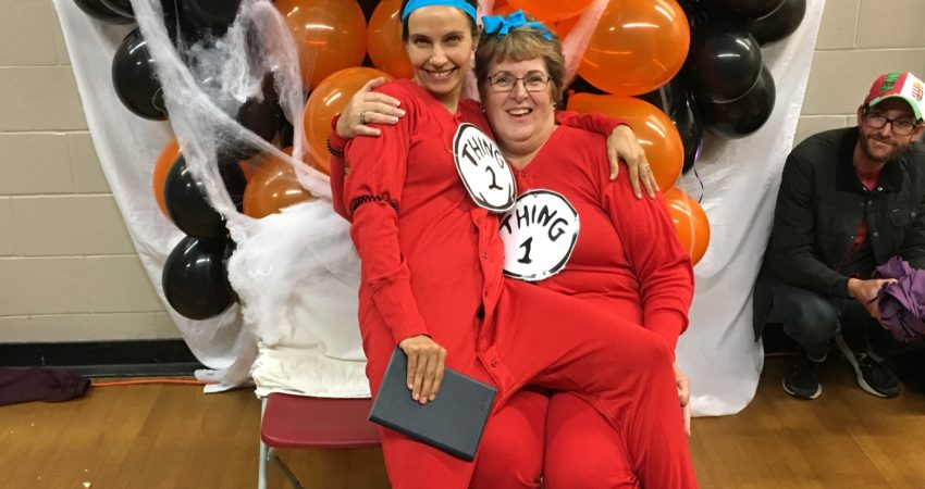 Thing 1 and Thing 2 at the Hallowe'en dance